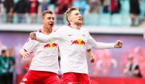 LEIPZIG,GERMANY,27.APR.19 - SOCCER - 1. DFL, 1. Deutsche Bundesliga, RasenBallsport Leipzig vs SC Freiburg. Image shows the rejoicing of Willi Orban and Emil Forsberg (RB Leipzig).