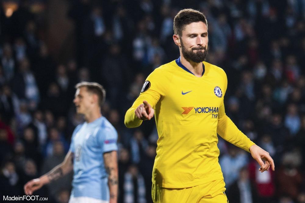 Olivier Giroud, l'attaquant de Chelsea et de l'équipe de France.