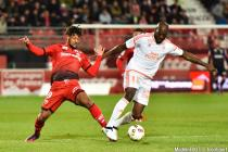 Lois Diony and Michael Ciani during the Ligue 1 match between Dijon and Lorient on 22th October 2016