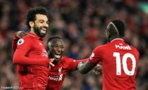 Liverpool's Naby Keita celebrates scoring his side's first goal of the game during the Premier League match between Liverpool and Huddersfield Town at Anfield, Liverpool. Picture date: 26th April 2019.
