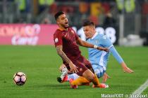 Emerson and Sergej Milinkovic Savic during the Italian National Cup semi final between As Roma and Lazio Roma on April 4th 2017