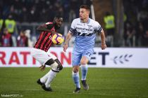 Sergej Milinkovic Savic during the Italian Cup Championship semi final match between Lazio Roma and AC Milan at the Olympic Stadium in Roma, on February 26, 2018.